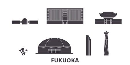 Japan, Fukuoka flat travel skyline set. Japan, Fukuoka black city vector panorama, illustration, travel sights, landmarks, streets.