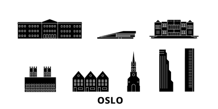 Norway, Oslo flat travel skyline set. Norway, Oslo black city vector panorama, illustration, travel sights, landmarks, streets.