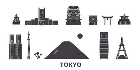 Japan, Tokyo flat travel skyline set. Japan, Tokyo black city vector panorama, illustration, travel sights, landmarks, streets. Stock Illustratie