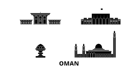 Oman, Muscat flat travel skyline set. Oman, Muscat black city vector panorama, illustration, travel sights, landmarks, streets.