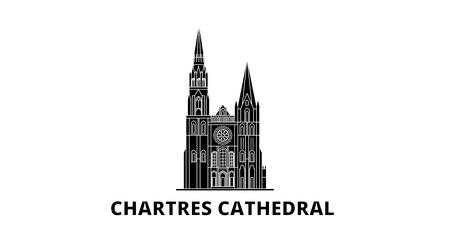 France, Chartres flat travel skyline set. France, Chartres black city vector panorama, illustration, travel sights, landmarks, streets.
