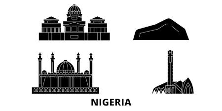 Nigeria flat travel skyline set. Nigeria black city vector panorama, illustration, travel sights, landmarks, streets.
