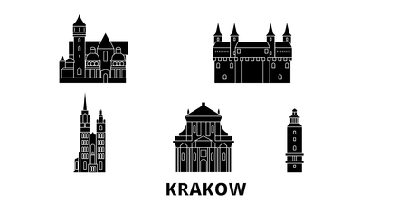Poland, Krakow flat travel skyline set. Poland, Krakow black city vector panorama, illustration, travel sights, landmarks, streets.  イラスト・ベクター素材