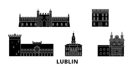 Poland, Lublin flat travel skyline set. Poland, Lublin black city vector panorama, illustration, travel sights, landmarks, streets.