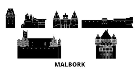 Poland, Malbork flat travel skyline set. Poland, Malbork black city vector panorama, illustration, travel sights, landmarks, streets. Ilustrace