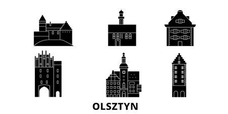 Poland, Olsztyn flat travel skyline set. Poland, Olsztyn black city vector panorama, illustration, travel sights, landmarks, streets.