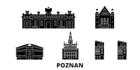 Poland, Poznan flat travel skyline set. Poland, Poznan black city vector panorama, illustration, travel sights, landmarks, streets.