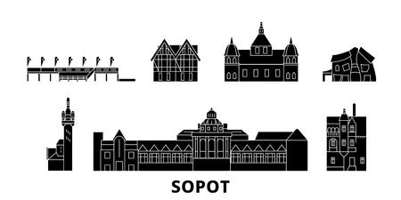 Poland, Sopot flat travel skyline set. Poland, Sopot black city vector panorama, illustration, travel sights, landmarks, streets.