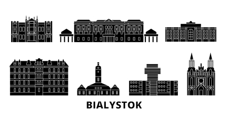 Poland, Bialystok flat travel skyline set. Poland, Bialystok black city vector panorama, illustration, travel sights, landmarks, streets.