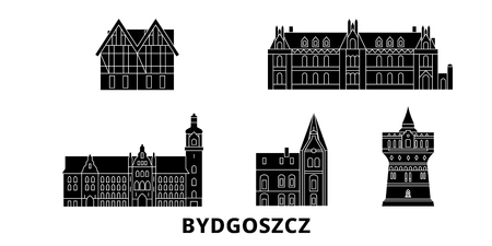 Poland, Bydgoszcz flat travel skyline set. Poland, Bydgoszcz black city vector panorama, illustration, travel sights, landmarks, streets. Illustration