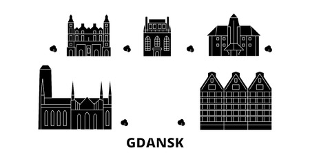 Poland, Gdansk flat travel skyline set. Poland, Gdansk black city vector panorama, illustration, travel sights, landmarks, streets. Иллюстрация