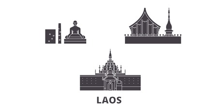 Laos flat travel skyline set. Laos black city vector panorama, illustration, travel sights, landmarks, streets.