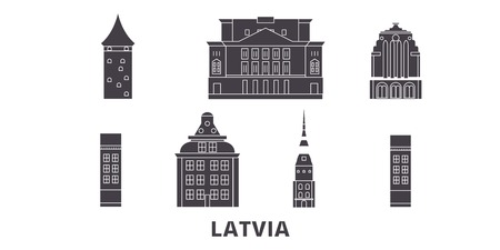 Latvia flat travel skyline set. Latvia black city vector panorama, illustration, travel sights, landmarks, streets. 일러스트
