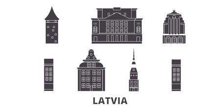 Latvia flat travel skyline set. Latvia black city vector panorama, illustration, travel sights, landmarks, streets. Illustration