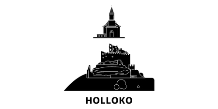 Hungary, Holloko, Old Village flat travel skyline set. Hungary, Holloko, Old Village black city vector panorama, illustration, travel sights, landmarks, streets.