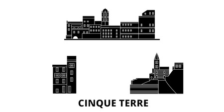 Italy, Cinque Terre flat travel skyline set. Italy, Cinque Terre black city vector panorama, illustration, travel sights, landmarks, streets. Иллюстрация