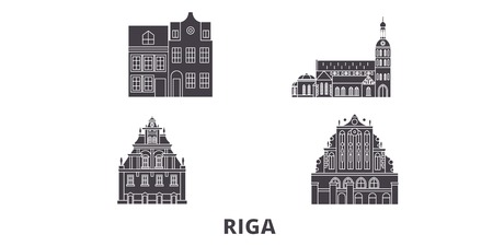 Latvia, Riga flat travel skyline set. Latvia, Riga black city vector panorama, illustration, travel sights, landmarks, streets.