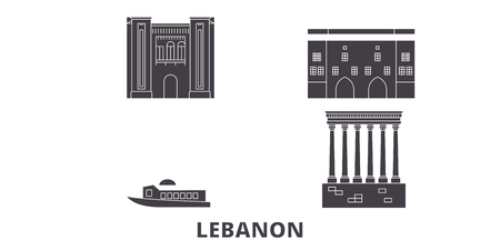 Lebanon flat travel skyline set. Lebanon black city vector panorama, illustration, travel sights, landmarks, streets.