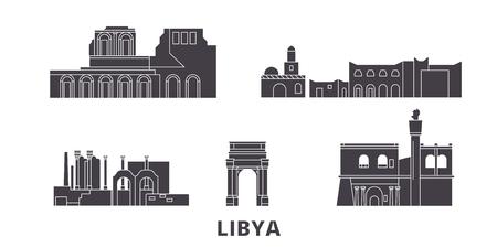 Conjunto de horizonte de viaje plano de Libia. Panorama de vector de ciudad negra de Libia, ilustración, lugares turísticos, monumentos, calles.