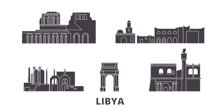 Libya flat travel skyline set. Libya black city vector panorama, illustration, travel sights, landmarks, streets. Çizim