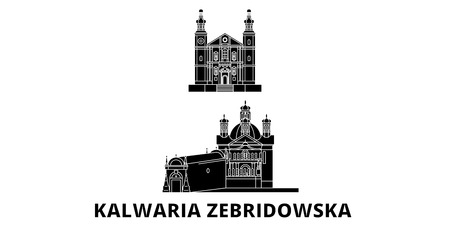 Poland, Kalwaria Zebrzydowska flat travel skyline set. Poland, Kalwaria Zebrzydowska black city vector panorama, illustration, travel sights, landmarks, streets.