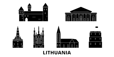 Lithuania flat travel skyline set. Lithuania black city vector panorama, illustration, travel sights, landmarks, streets.