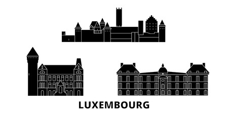 Luxembourg flat travel skyline set. Luxembourg black city vector panorama, illustration, travel sights, landmarks, streets. Archivio Fotografico - 120723092