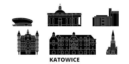 Poland, Katowice flat travel skyline set. Poland, Katowice black city vector panorama, illustration, travel sights, landmarks, streets.