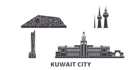 Kuwait, Kuwait City flat travel skyline set. Kuwait, Kuwait City black city vector panorama, illustration, travel sights, landmarks, streets. Ilustração