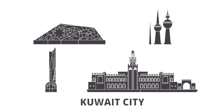 Kuwait, Kuwait City flat travel skyline set. Kuwait, Kuwait City black city vector panorama, illustration, travel sights, landmarks, streets. Illustration
