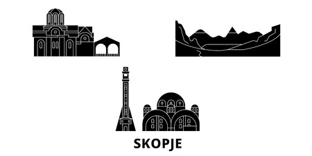 Macedonia, Skopje flat travel skyline set. Macedonia, Skopje black city vector panorama, illustration, travel sights, landmarks, streets. Иллюстрация