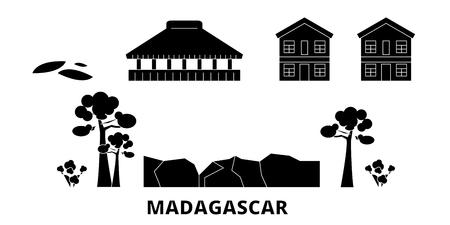 Madagascar flat travel skyline set. Madagascar black city vector panorama, illustration, travel sights, landmarks, streets.