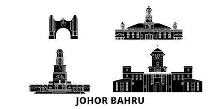 Malaysia, Johor Bahru flat travel skyline set. Malaysia, Johor Bahru black city vector panorama, illustration, travel sights, landmarks, streets.