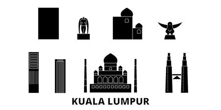 Malaisie, Kuala Lumpur voyage à plat ensemble d'horizon. Malaisie, panorama vectoriel de la ville noire de Kuala Lumpur, illustration, sites touristiques, monuments, rues. Vecteurs