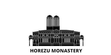Romania, Horezu Monastery flat travel skyline set. Romania, Horezu Monastery black city vector panorama, illustration, travel sights, landmarks, streets.