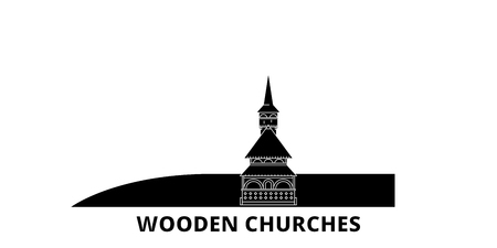 Romania, Maramures, Wooden Churches flat travel skyline set. Romania, Maramures, Wooden Churches black city vector panorama, illustration, travel sights, landmarks, streets.