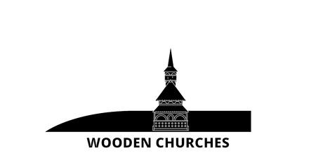 Romania, Maramures, Wooden Churches flat travel skyline set. Romania, Maramures, Wooden Churches black city vector panorama, illustration, travel sights, landmarks, streets.