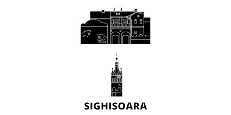 Romania, Sighisoara flat travel skyline set. Romania, Sighisoara black city vector panorama, illustration, travel sights, landmarks, streets.