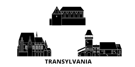 Romania, Transylvania flat travel skyline set. Romania, Transylvania black city vector panorama, illustration, travel sights, landmarks, streets. Иллюстрация