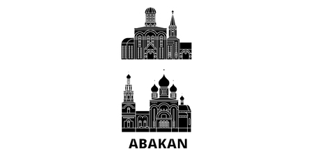 Russia, Abakan flat travel skyline set. Russia, Abakan black city vector panorama, illustration, travel sights, landmarks, streets.