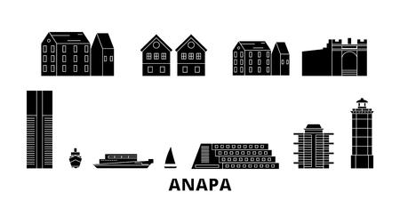 Russia, Anapa flat travel skyline set. Russia, Anapa black city vector panorama, illustration, travel sights, landmarks, streets. Illustration