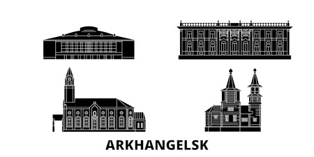 Russia, Arkhangelsk flat travel skyline set. Russia, Arkhangelsk black city vector panorama, illustration, travel sights, landmarks, streets. Banque d'images - 120730759