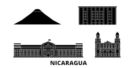 Nicaragua, Managua flat travel skyline set. Nicaragua, Managua black city vector panorama, illustration, travel sights, landmarks, streets.
