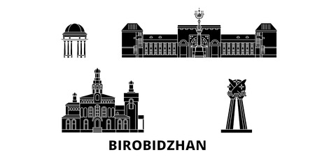 Russia, Birobidzhan  flat travel skyline set. Russia, Birobidzhan  black city vector panorama, illustration, travel sights, landmarks, streets. Illusztráció