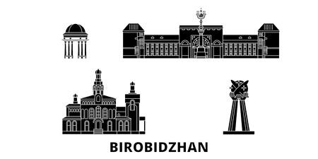 Russia, Birobidzhan  flat travel skyline set. Russia, Birobidzhan  black city vector panorama, illustration, travel sights, landmarks, streets. Illustration