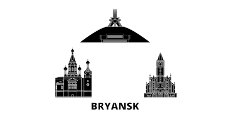 Russia, Bryansk flat travel skyline set. Russia, Bryansk black city vector panorama, illustration, travel sights, landmarks, streets.
