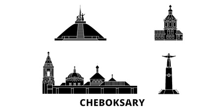 Russia, Cheboksary flat travel skyline set. Russia, Cheboksary black city vector panorama, illustration, travel sights, landmarks, streets.