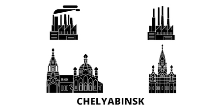 Russia, Chelyabinsk flat travel skyline set. Russia, Chelyabinsk black city vector panorama, illustration, travel sights, landmarks, streets.