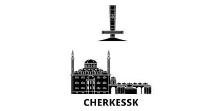 Russia, Cherkessk flat travel skyline set. Russia, Cherkessk black city vector panorama, illustration, travel sights, landmarks, streets.