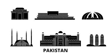 Pakistán, Islamabad plana horizonte de viaje. Pakistán, Islamabad panorama vectorial de la ciudad negra, ilustración, lugares turísticos, monumentos, calles.